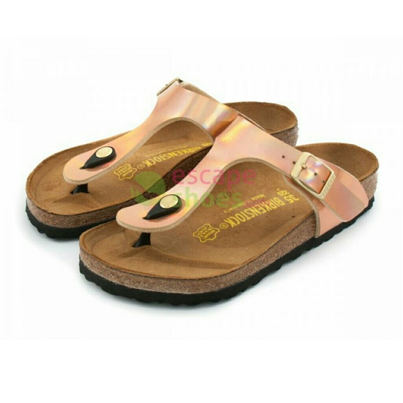 b407d5056a6225 Birkenstock Shoes - Birkenstock Gizeh Birko-Flor Mirror Rose Gold