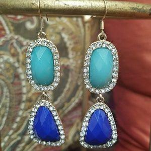 Olivia WellesNavy & Gold Mosaic Stone Earrings