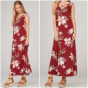 Burgundy Sleeveless Floral Maxi Dress