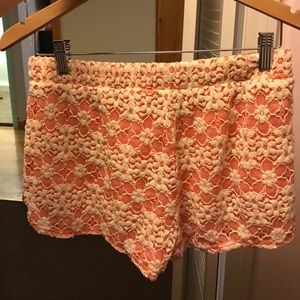 Pants - Peach comfy shorts with lace overlay