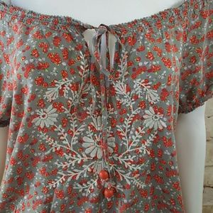 Flying Tomato Tops - Flying Tomato off shoulder with tie keyhole neck