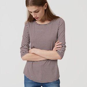 Burgundy & White 3/4 Sleeve Mixed Stripe Top