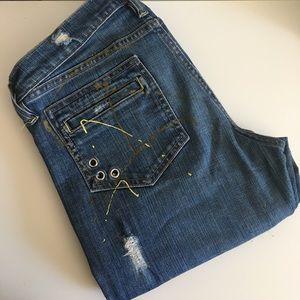 Allen B. By Allen Schwartz Denim - Distressed Paint Splatter Flare Jeans