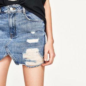 377ce6c17 Zara Skirts | Distressed Denim Mini Skirt | Poshmark