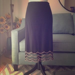 Betsey Johnson black midi skirt with floral trim