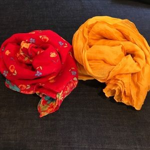 Accessories - Red Floral Cotton & Gold Voile Scarves