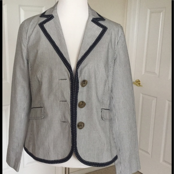 1603b640fb6 Boden Jackets   Blazers - Boden Blue   White Striped Jacket ...