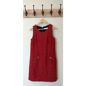 LOFT Marled Red Boucle Shift Dress