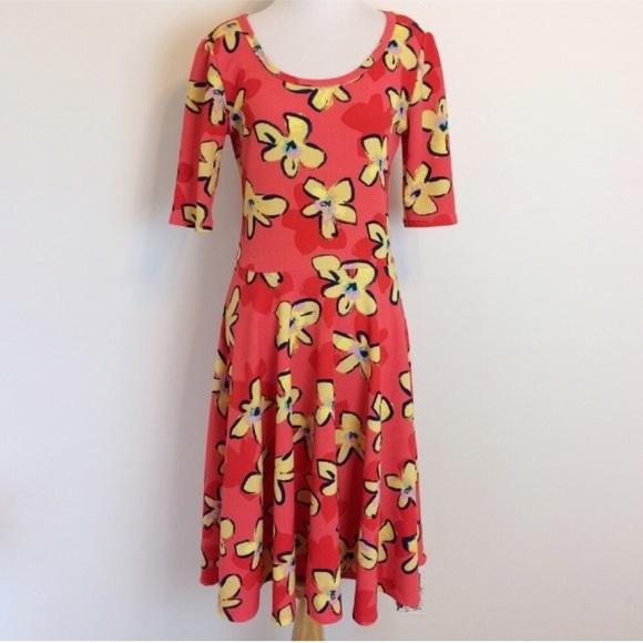 Lularoe dresses nicole dress coral with yellow flowers poshmark lularoe nicole dress coral with yellow flowers mightylinksfo