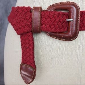 Vintage Accessories - 💯% LEATHER TRIM WITH RED BRAIDED FABRIC BELT!!