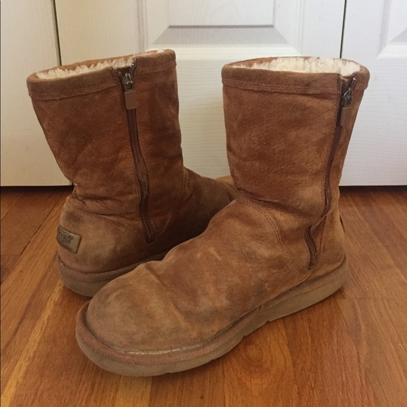 SALE Khaki Uggs with Zipper and Metal Plate