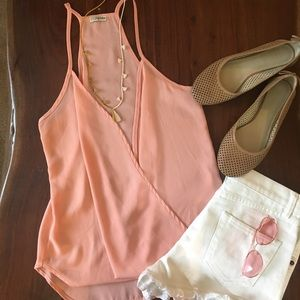 Blush tank top with open front