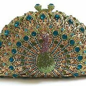 Peacock Cristal Rhinestones clutch