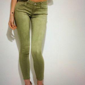 Denim - Safe green soft mid rise skinny jeans Denim