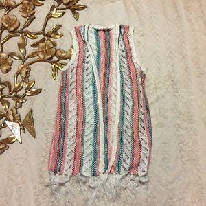 Copper Key Sweaters - Copper Key Open Knit Sleeveless Cardigan Size M