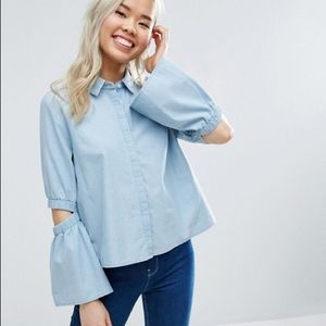 ASOS Tops - Chambray Shirt with Flare Sleeve and Cold Elbow