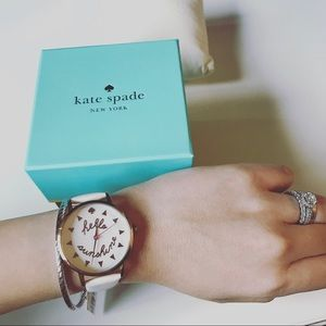 kate spade Accessories - New Kate Spade metro white leather strap watch