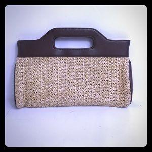 Ann Taylor LOFT small hand bag with soft straw