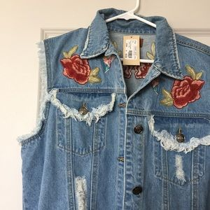 POL Jackets & Blazers - Oversized Embroidered Denim Vest
