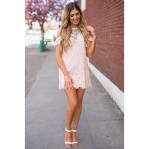Forever & Ever Ruffle Cold Shoulder Lace Shift