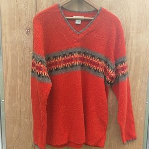 EDDIE BAUER WOMEN'S LAMBSWOOL V-NECK SWEATER LARGE