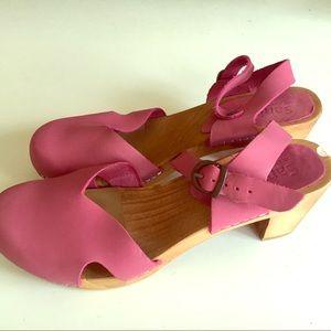 Pink Leather Sanita Clogs