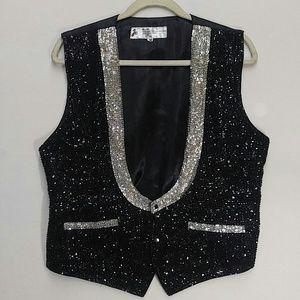 Jc Other - Men's sequin and tuxedo flashy vest