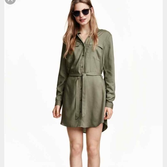 7d3f3a3a2678 H M Dresses   Skirts - H M Olive Green Shirt Dress