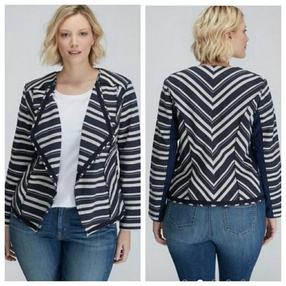 6e0a426af7c59 New Stripe flyaway jacket blazer 20 chevron 2x. NWT. Lane Bryant