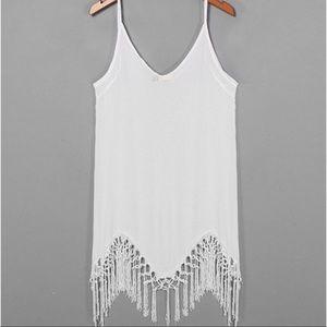 Dresses & Skirts - Boho Chic white fringe dress M