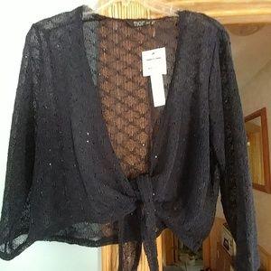 TIGI Sweaters - Navy Blue Sparkle Waist Tie Shrug