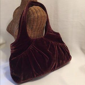 Lauren Merkin Handbags - LAUREN MERKIN BURGUNDY VELVET HOBO BAG