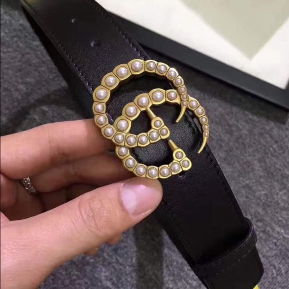 55d4ead8688 Gucci Leather Belt with Pearl Double G