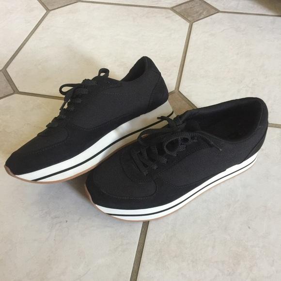 Zara Mesh Black Platform Sneakers Shoes