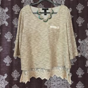 Style & Co Tops - Romantic Lace Pearl Boho Blouse Top size 1X