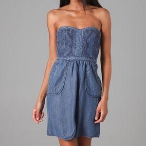 Rebecca Taylor Quilted Denim Strapless Dress Sz 4