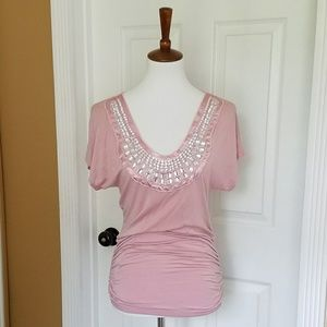 Threads Pink Jeweled Fitted Top
