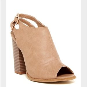 Anne Marie Shoes - Anne Marie Camel Colored Peep Toe Heels