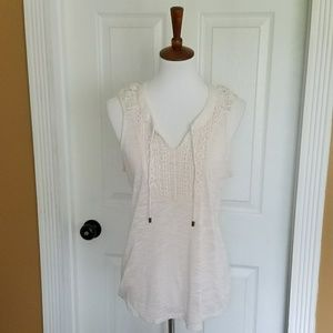 Maurices Cream Embroidered Tank Top