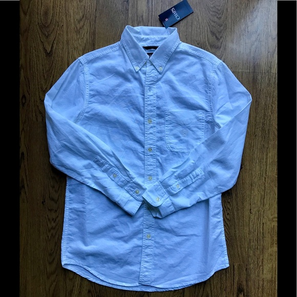 Chaps men 39 s chaps all white long sleeve button down for Chaps button down shirts