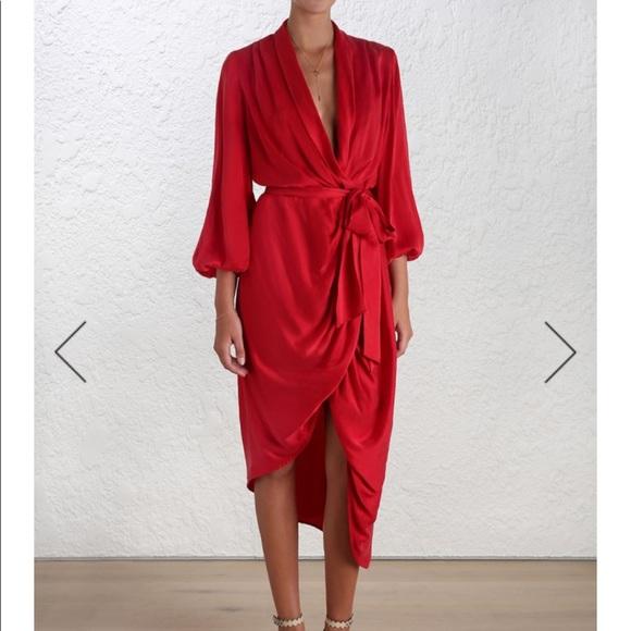 Zimmermann Dresses Zimmerman Silk Wrap Dress In Red