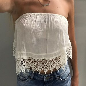 PacSun Tops - strapless cream lace top