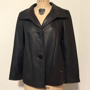 Ellen Tracy Jackets & Blazers - Ellen Tracy Brown Leather Button Down Swing Jacket