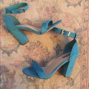 Teal block heels!