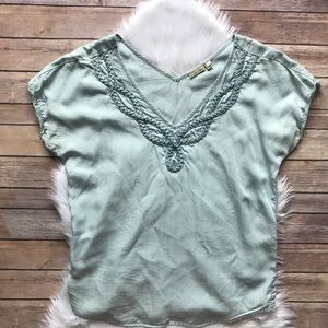 Anthro Braided Chambray Top by Holding Horses