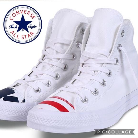 c2742e9684b24e Converse Shoes - 🇺🇸Converse Flag Toe All Star High Tops  White  8