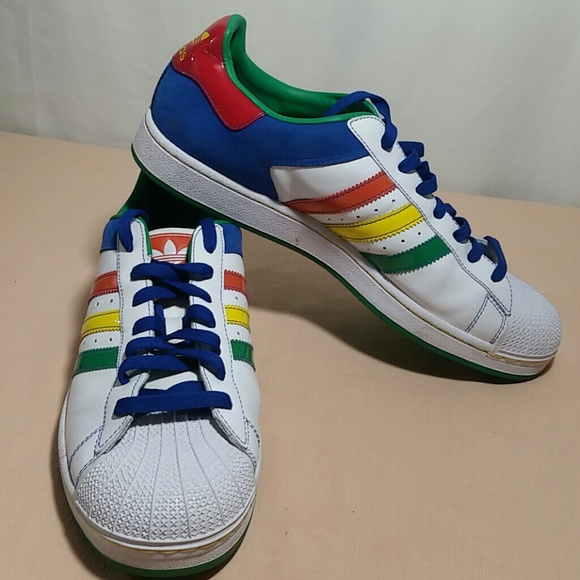 Details about Pre own Adidas Superstar II HEMP Beige Green Red Yellow Stripes D74090 Size 7