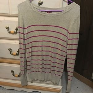 tan colored sweater with pink stripes
