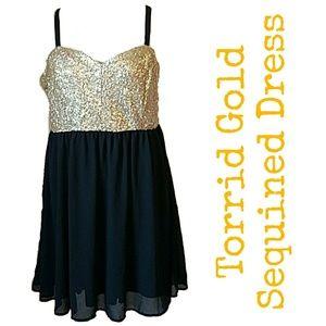torrid Dresses & Skirts - Torrid Gold Sequined Bodice Dress.  STUNNING