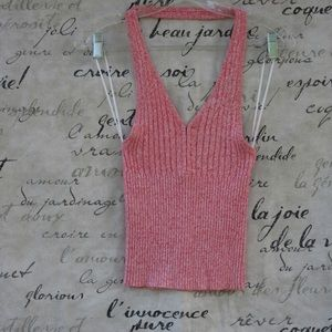Guess Pink Halter V-Neck Sweater NWT